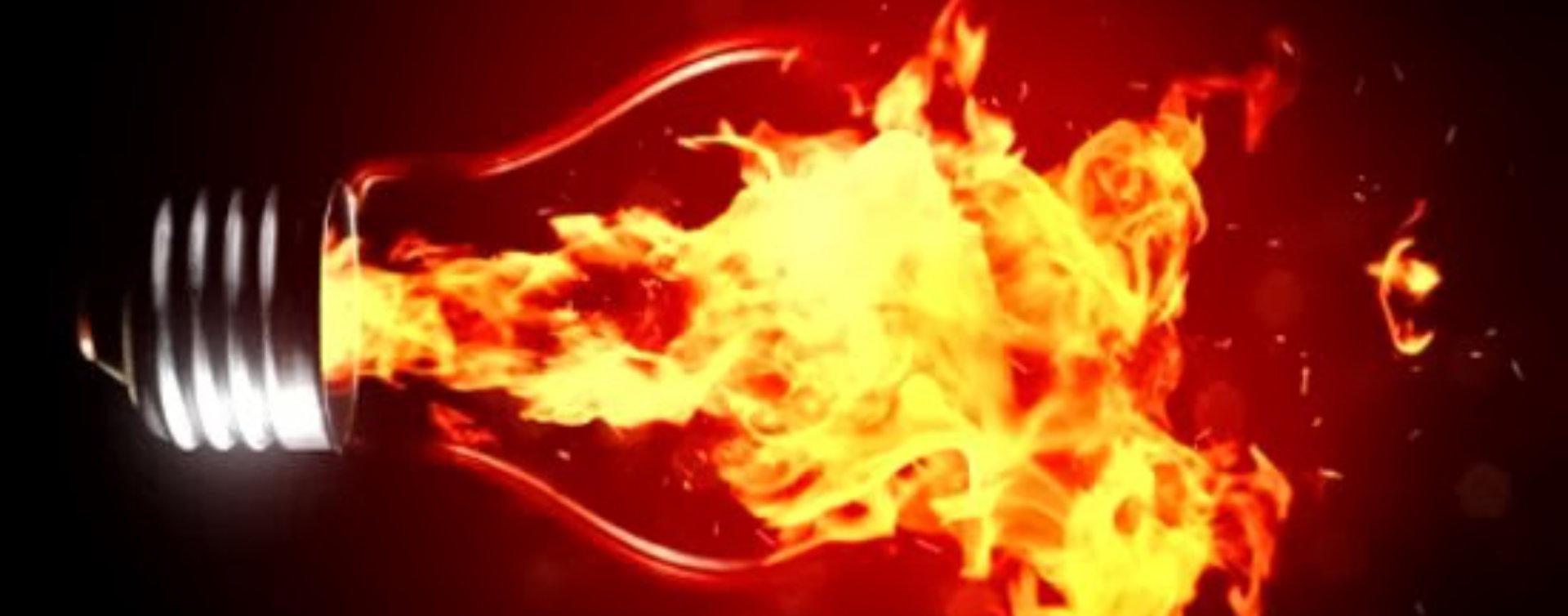 lightbul on fire