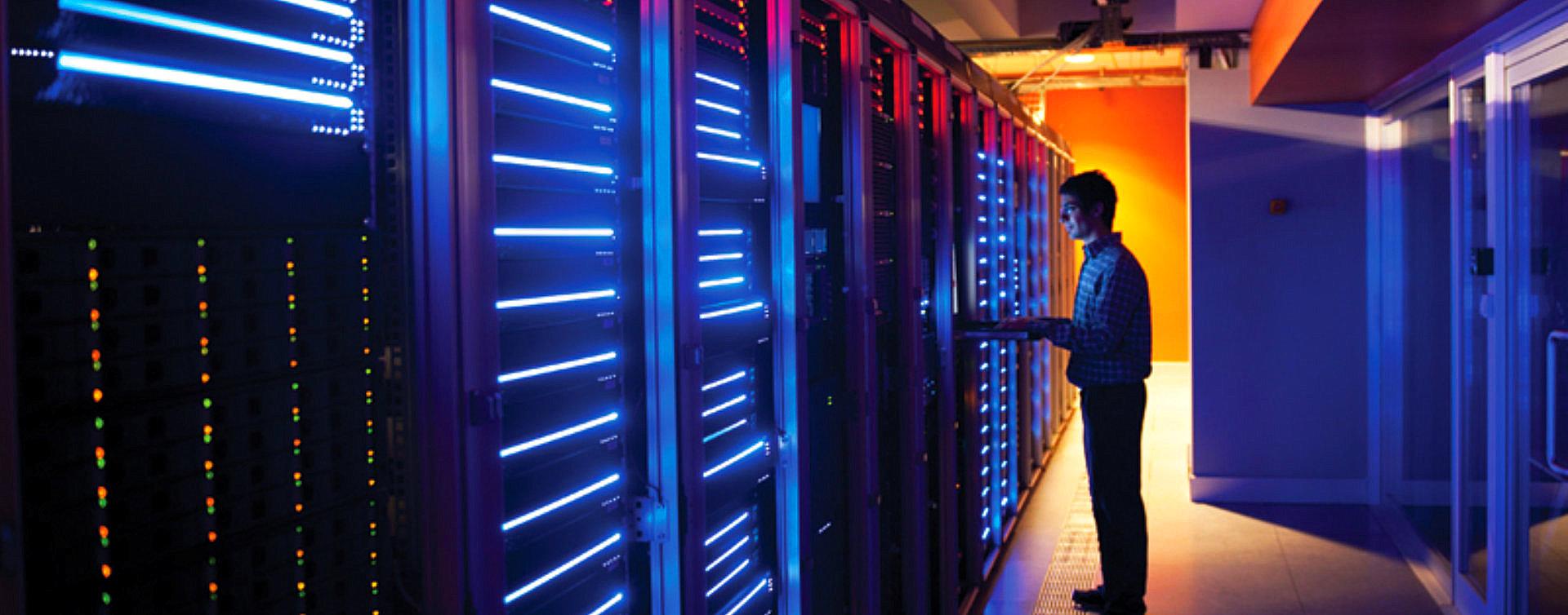 data engineer checking the data servers
