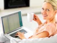 woman with coffee smiling