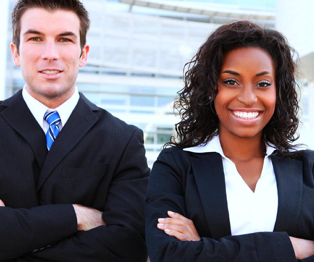 marketing partners smiling